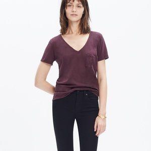 MADEWELL Tee shirt v-neck Burgundy pocket XXS